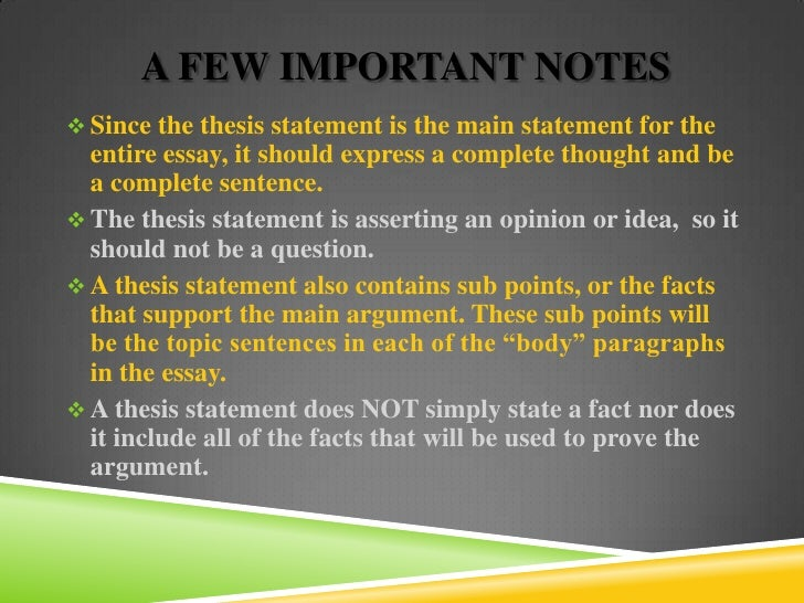 documentary thesis statement