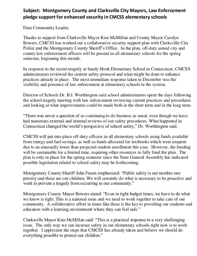 Subject: Montgomery County and Clarksville City Mayors, Law Enforcementpledge support for enhanced security in CMCSS eleme...