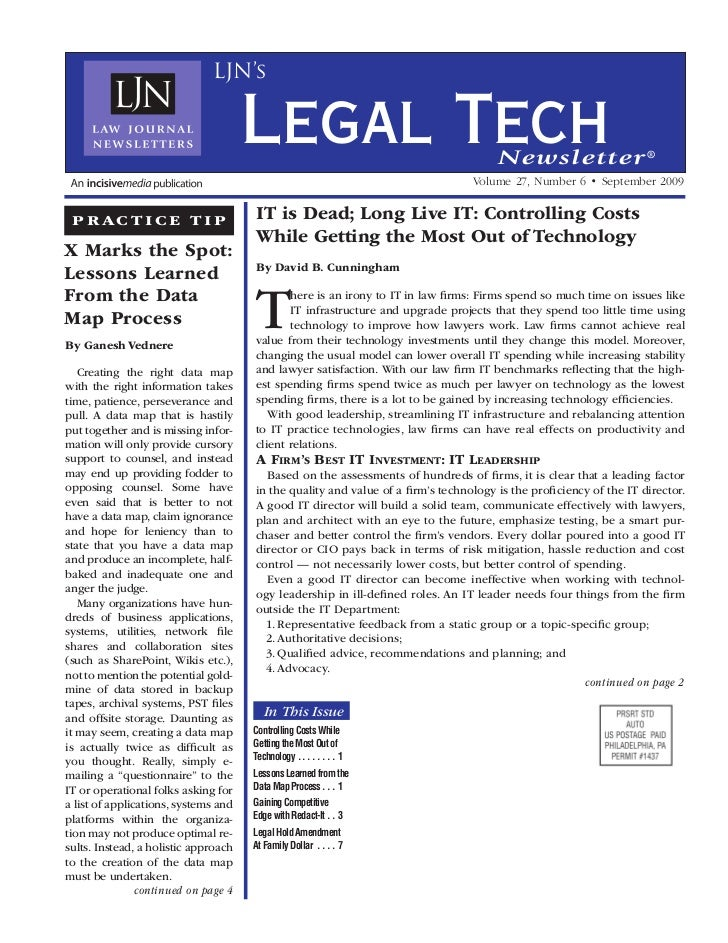 Law journal news   it is dead article; long live it controlling costs while getting the most out of technology - sep 2009