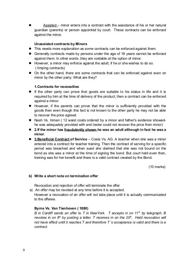 Contract Law Essays Answers