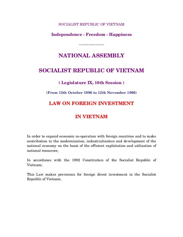 SOCIALIST REPUBLIC OF VIETNAM Independence - Freedom - Happiness --------------------- NATIONAL ASSEMBLY SOCIALIST REPUBLI...