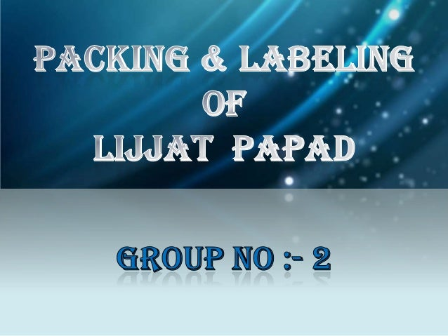 packing & labeling ppt