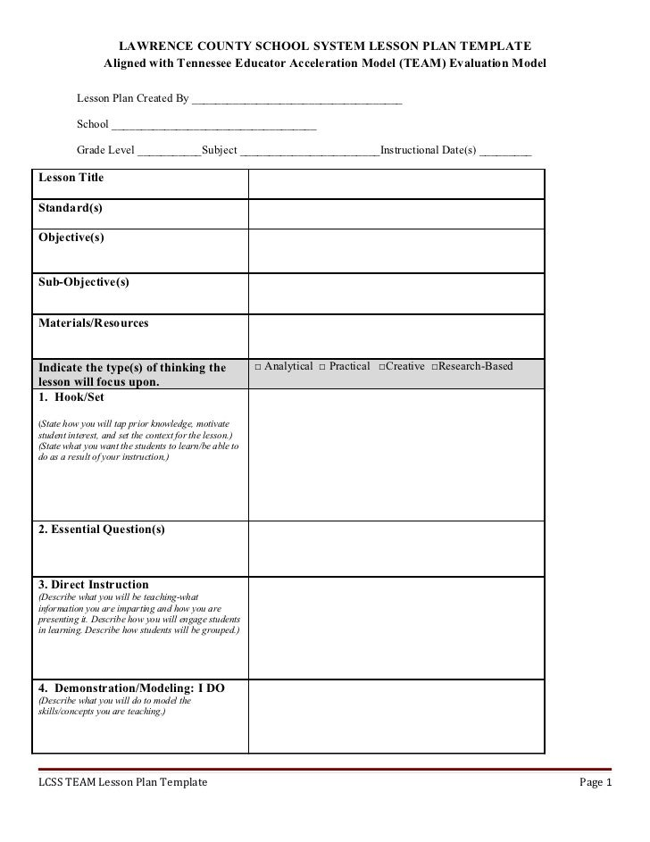 Write Lesson Plan Template Roho4senses