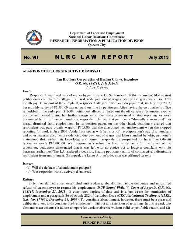 NLRC Law Report No. VII. July 2013.