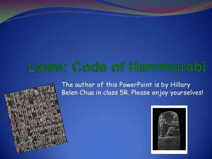 Laws: Code of Hammurabi