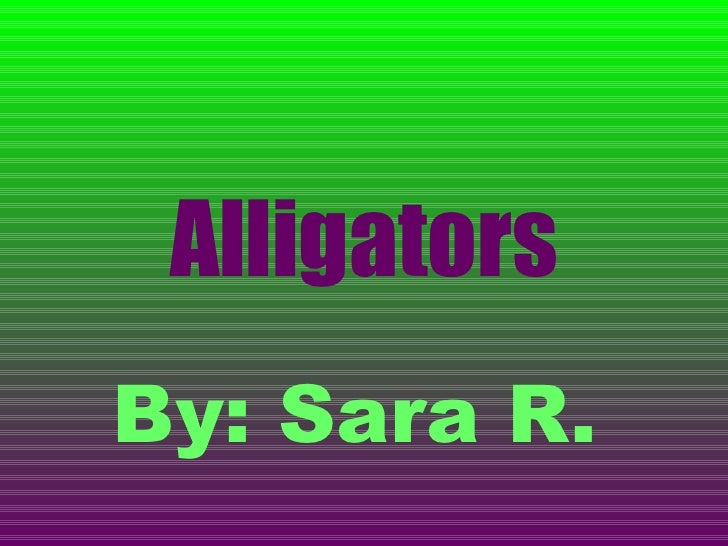 Alligators By: Sara R.