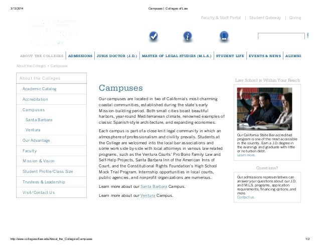 3/13/2014 Campuses | Colleges of Law http://www.collegesoflaw.edu/About_the_Colleges/Campuses 1/2 Giving|Student Gateway|F...