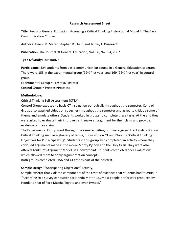 Research Assessment Sheet  Title: Revising General Education: Assessing a Critical Thinking Instructional Model In The Bas...