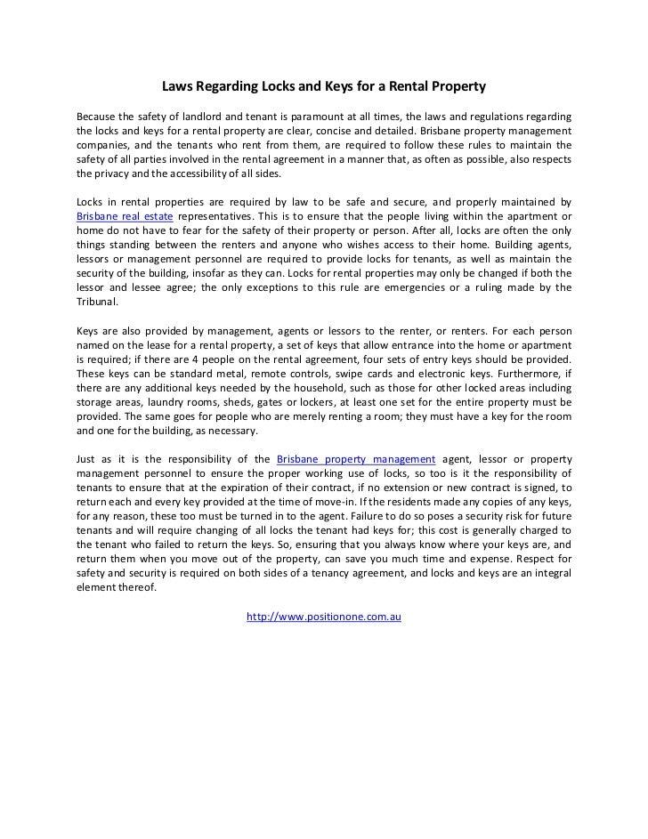 Laws Regarding Locks and Keys for a Rental Property