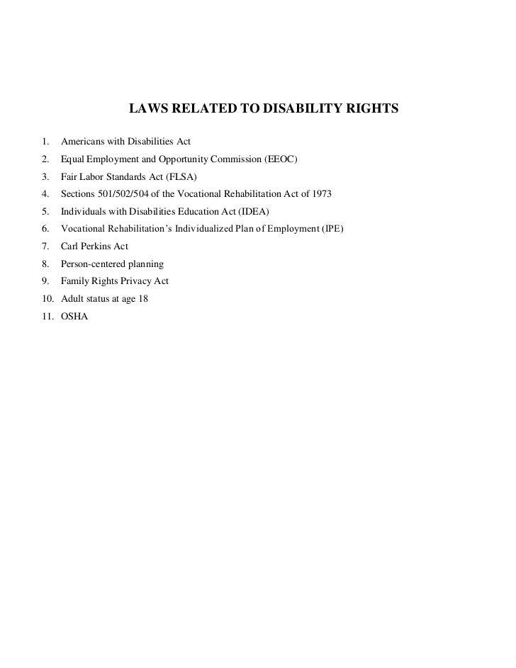 Laws related to disability rights
