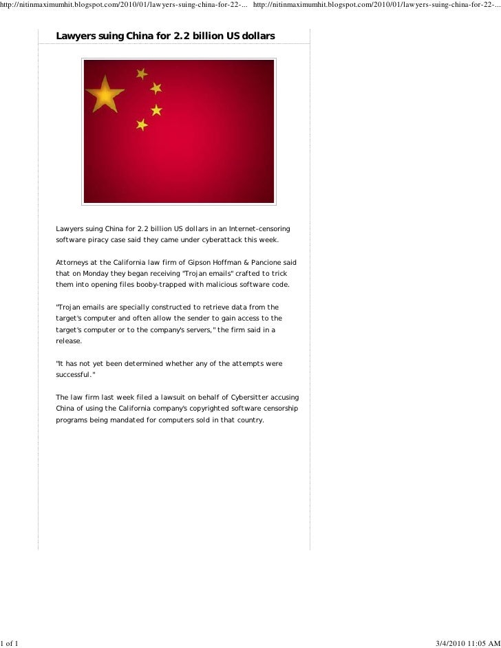 http://nitinmaximumhit.blogspot.com/2010/01/lawyers-suing-china-for-22-... http://nitinmaximumhit.blogspot.com/2010/01/law...