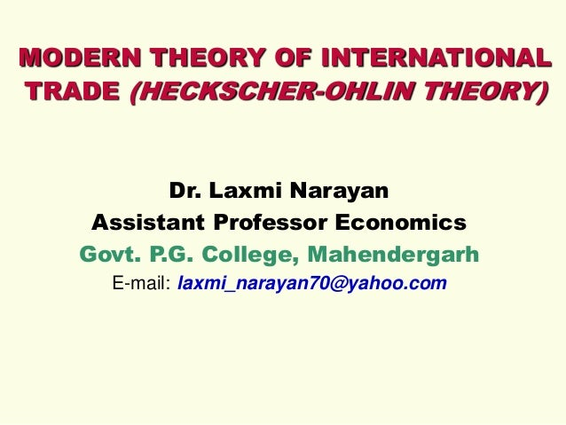 Modern Theory of International Trade