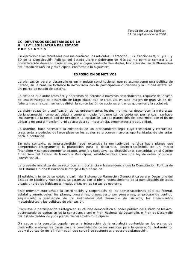"Toluca de Lerdo, México;11 de septiembre de 2001.CC. DIPUTADOS SECRETARIOS DE LAH. ""LIV"" LEGISLATURA DEL ESTADOP R E S E N..."