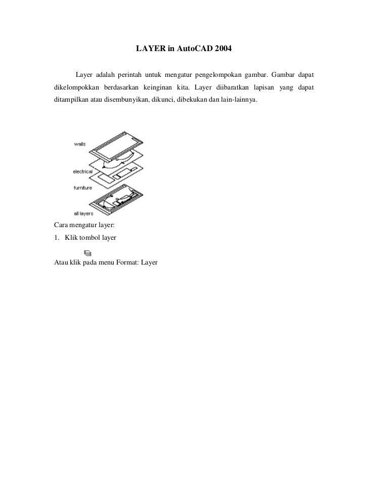 LAYER in AutoCAD 2004<br />Layer adalah perintah untuk mengatur pengelompokan gambar. Gambar dapat dikelompokkan berdasark...