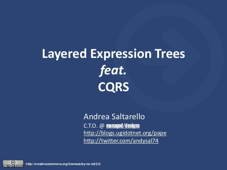 Layered Expression Trees                    feat.                   CQRS                                     Andrea Saltar...