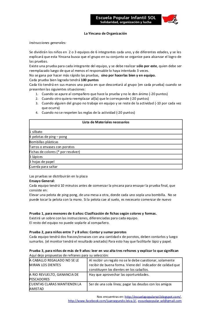La Yincana de OrganizaciónInstrucciones generales:Se dividirán los niños en 2 o 3 equipos de 6 integrantes cada uno, y de ...