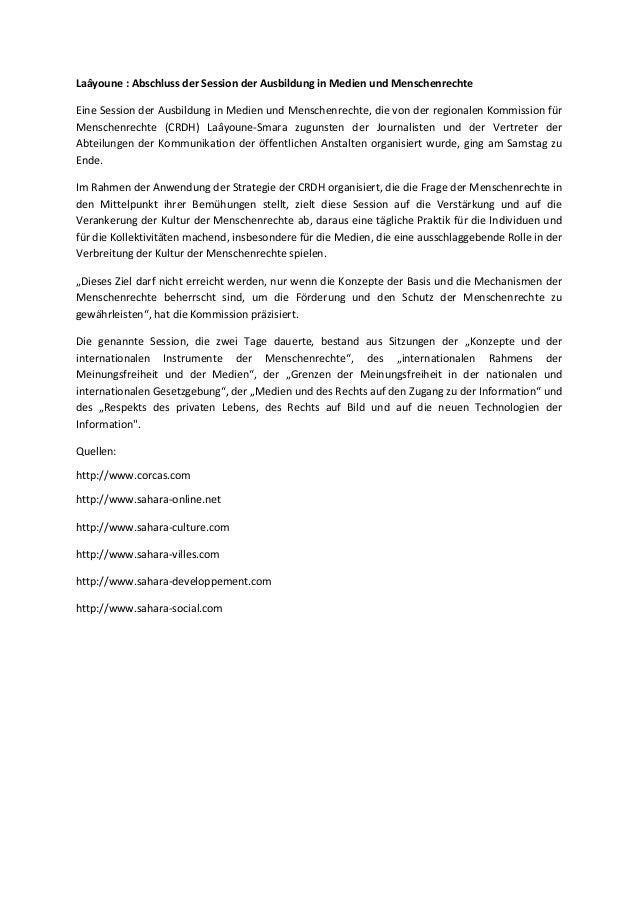 Laâyoune  abschluss der session der ausbildung in medien und menschenrechte