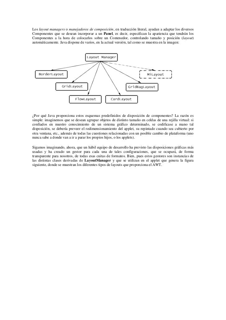 Los layout managers o manejadores de composición, en traducción literal, ayudan a adaptar los diversosComponentes que se d...