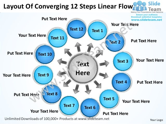 Layout of converging 12 steps linear flow cycle chart power point templates
