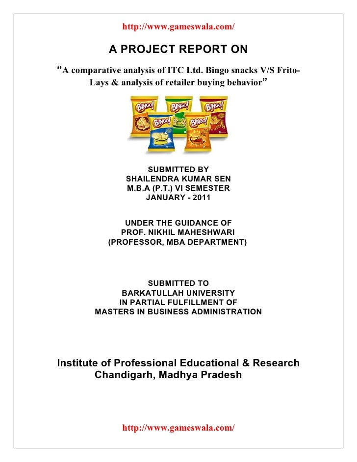 "http://www.gameswala.com/            A PROJECT REPORT ON""A comparative analysis of ITC Ltd. Bingo snacks V/S Frito-      L..."