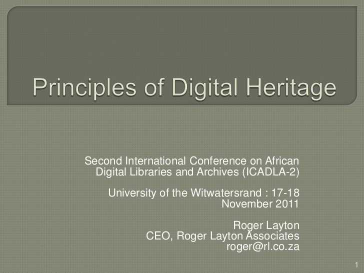 Second International Conference on African  Digital Libraries and Archives (ICADLA-2)    University of the Witwatersrand :...