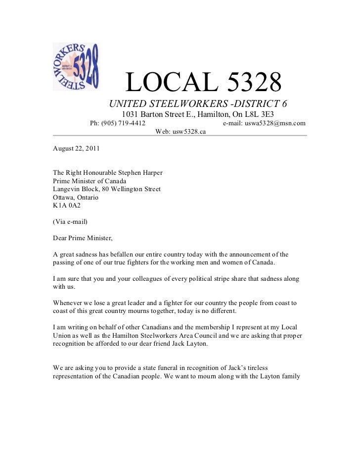 LOCAL 5328                     UNITED STEELWORKERS -DISTRICT 6                         1031 Barton Street E., Hamilton, On...