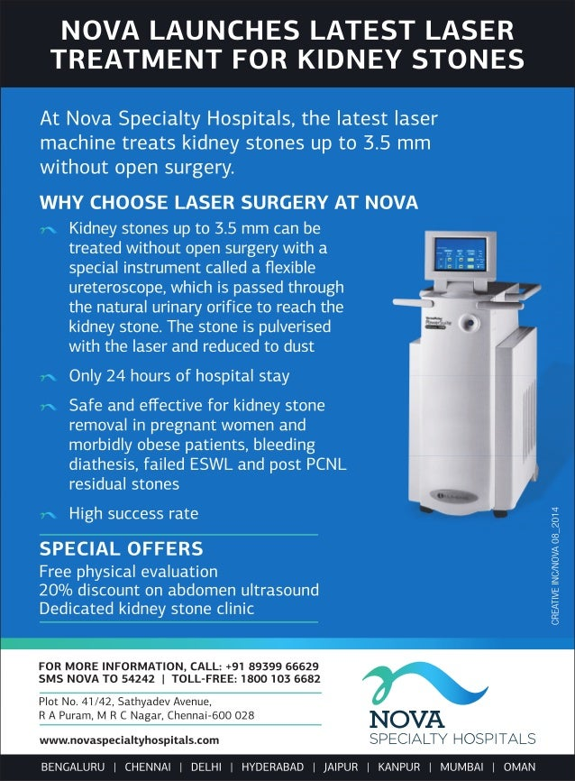Nova Launches Latest Laser Treatment for Kidney Stones.