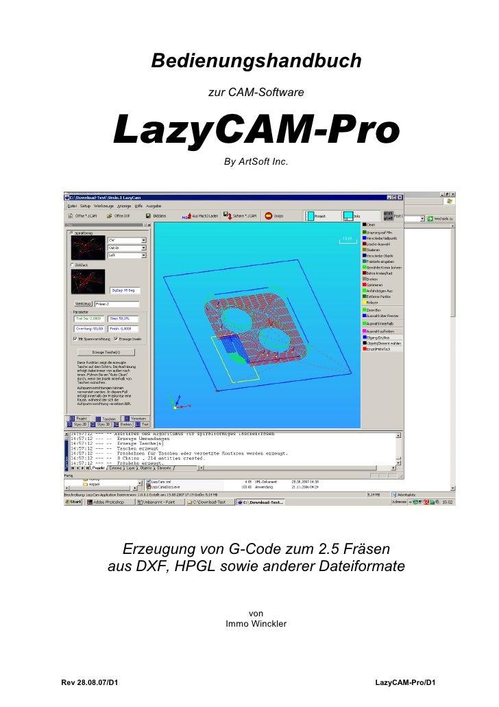 Bedienungshandbuch                          zur CAM-Software                LazyCAM-Pro                            By ArtS...