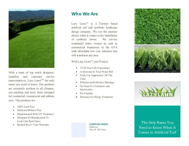 Rough Draft and Layout Prototype for Lazy Lawn Brochure