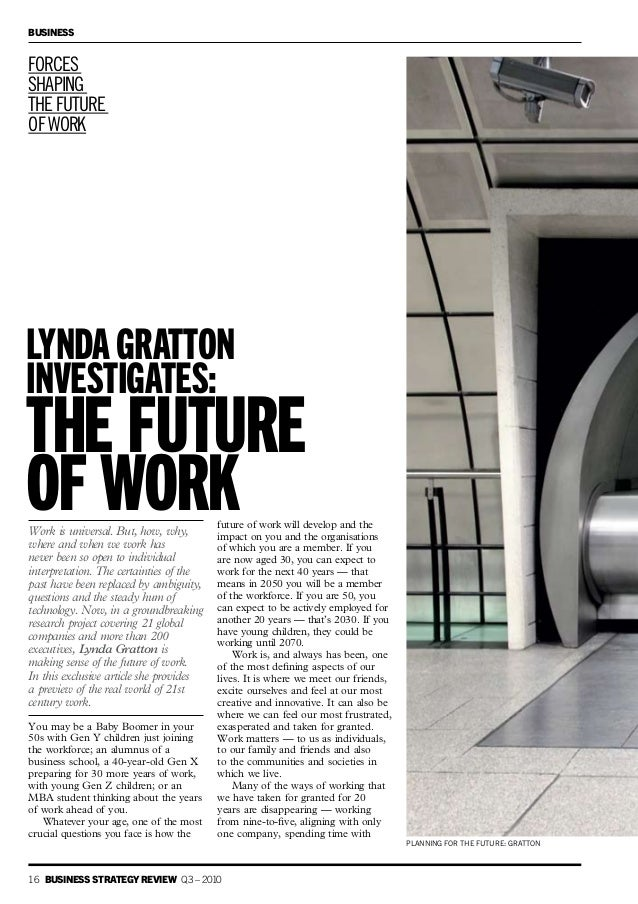 Lynda Gratton investigates the future of work
