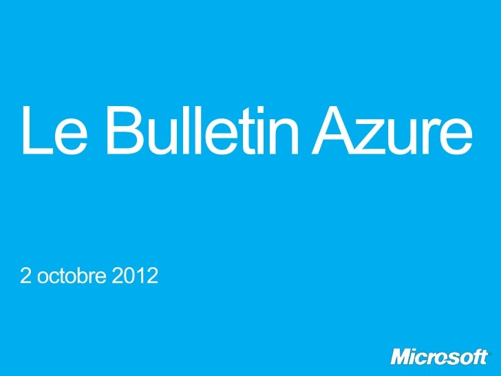 Le bulletin Azure – épisode 11, Windows Azure Web Sites