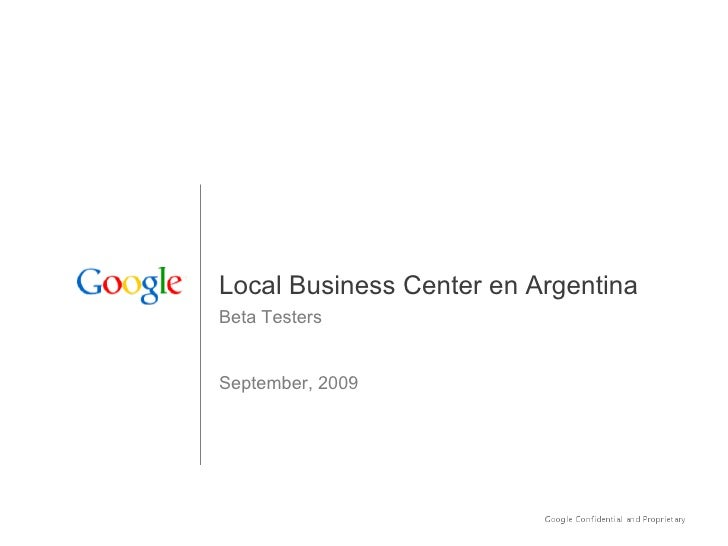 Local Business Center en Argentina Beta Testers   September, 2009