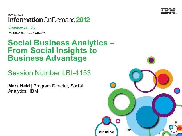 Social Business Analytics –From Social Insights toBusiness AdvantageSession Number LBI-4153Mark Heid | Program Director, S...
