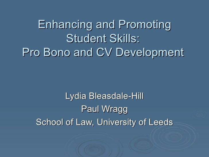 Enhancing and promoting students' skills: pro bono and CV development