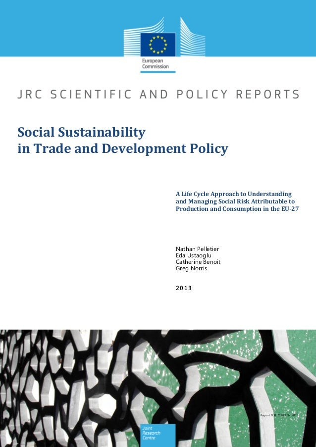 Social Sustainability in Trade and Development Policy A Life Cycle Approach to Understanding and Managing Social Risk Attr...