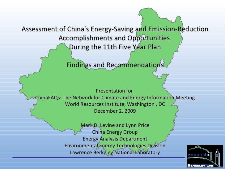 LBNL China 11th 5YP Energy Connservation Progress