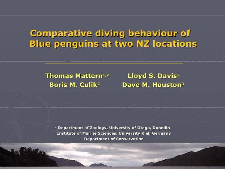 Comparative diving behaviour ofBlue penguins at two NZ locations   Thomas Mattern1,2                    Lloyd S. Davis1   ...