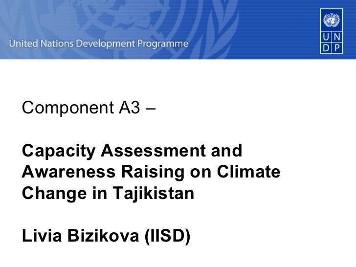 Component A3 –  Capacity Assessment and Awareness Raising on Climate Change in Tajikistan  Livia Bizikova (IISD)