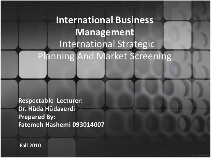international strategic planning and market screening