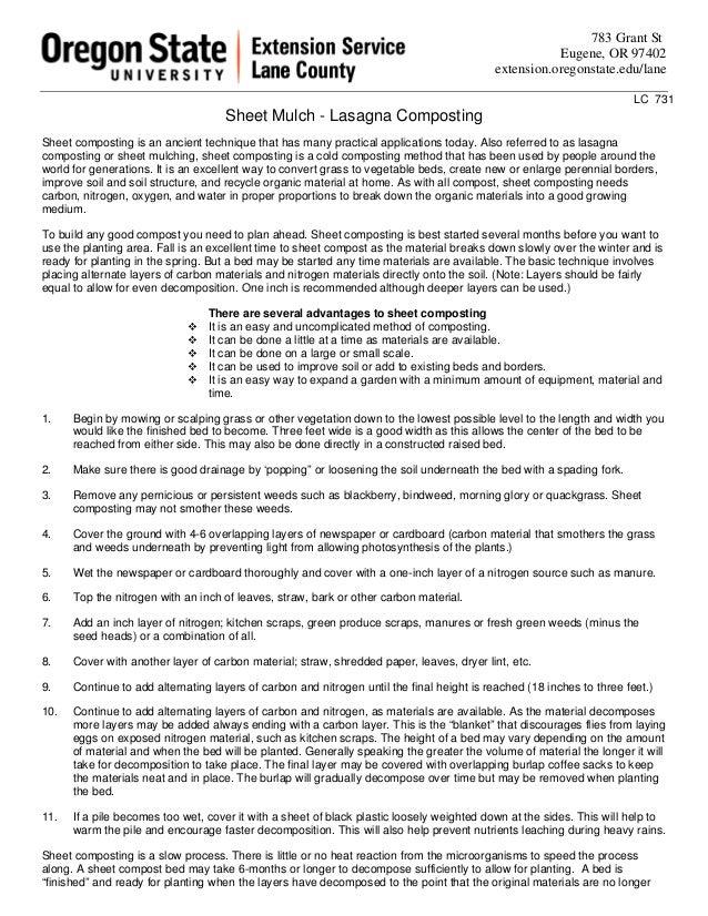 Lasagna Gardening Composting - Sheet Mulch - Oregon State University