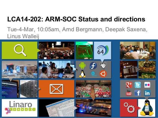 Tue-4-Mar, 10:05am, Arnd Bergmann, Deepak Saxena, Linus Walleij LCA14-202: ARM-SOC Status and directions