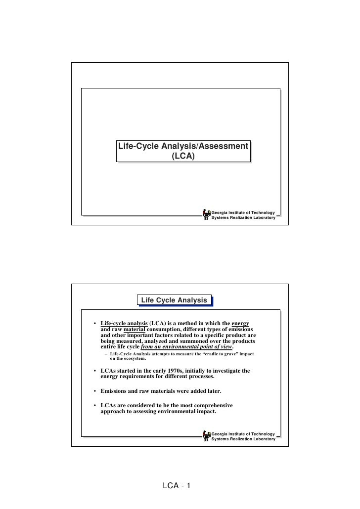 Life-Cycle Analysis/Assessment           Life-Cycle Analysis/Assessment                        (LCA)                      ...