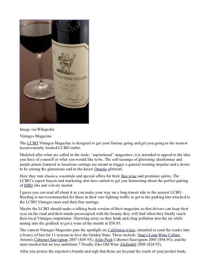 Lcbo wine convenience campaign | lcbo vintages magazine fancy talk