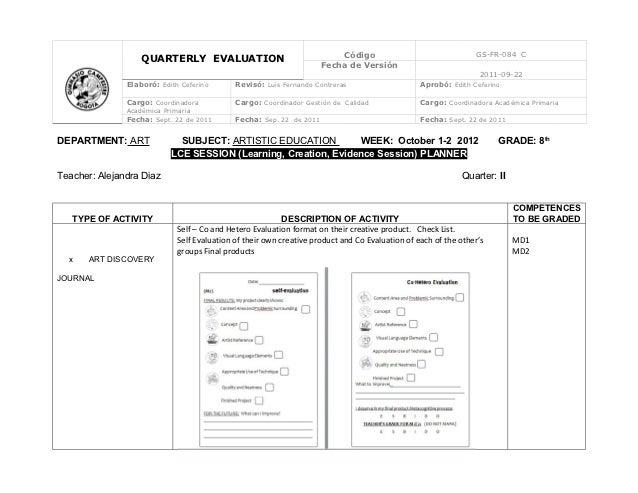 Código                                GS-FR-084 C                   QUARTERLY EVALUATION                                  ...