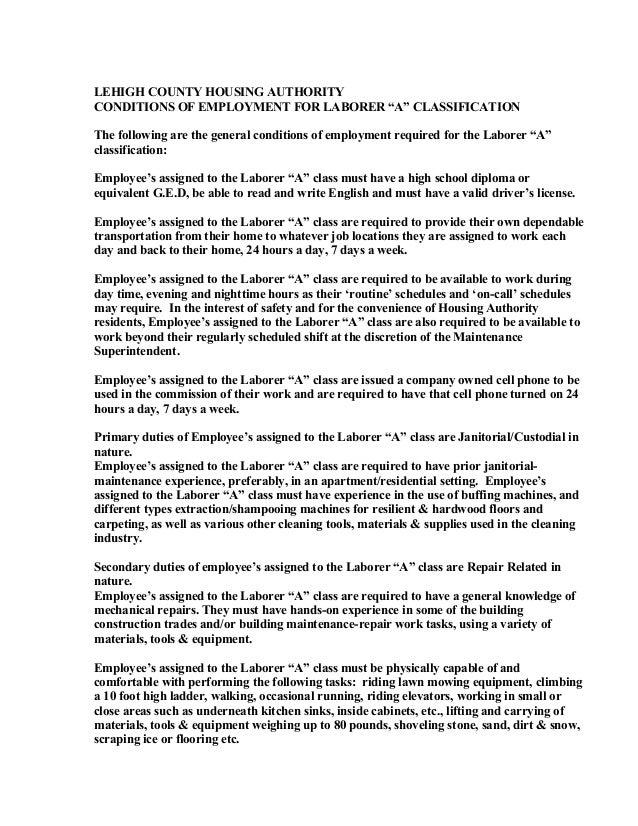 LCHA Job Description - Laborer A