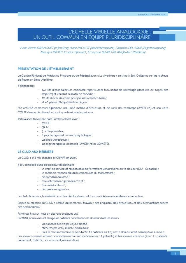 Alter Ego n°33 – Septembre 2012  3  L'ECHELLE VISUELLE ANALOGIQUE :  UN OUTIL COMMUN EN EQUIPE PLURIDISCIPLINAIRE  $QQH0DU...