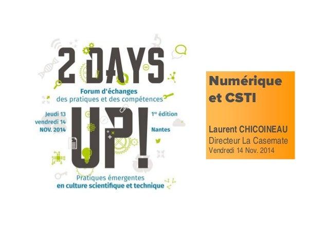 Numérique et CSTI Laurent CHICOINEAU Directeur La Casemate Vendredi 14 Nov. 2014