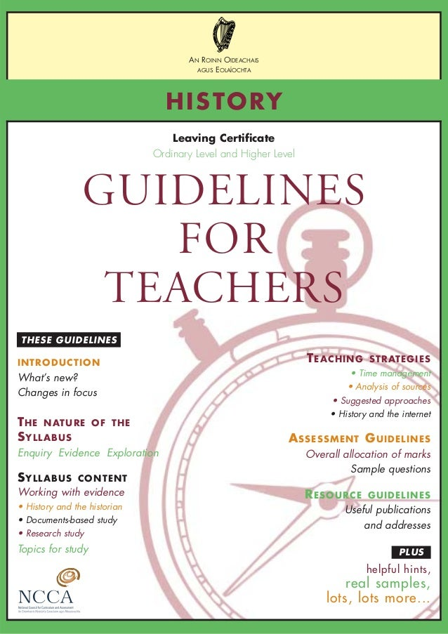 Lc history guidelines for teachers