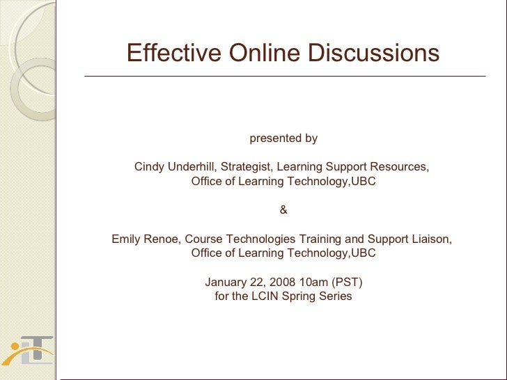 LCIN Presentation: Effective Online Discussions