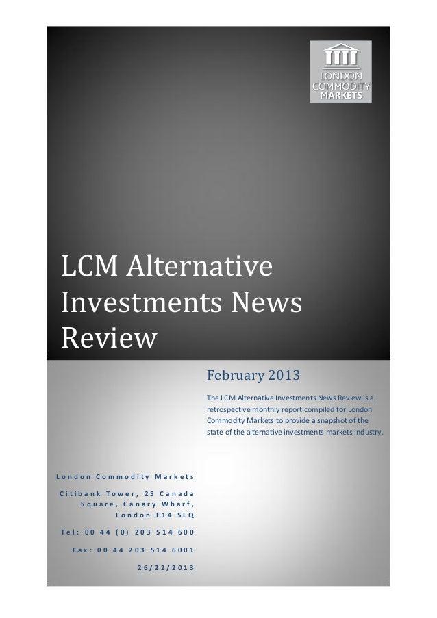 Alternative Investment Markets Retrospective February 2013